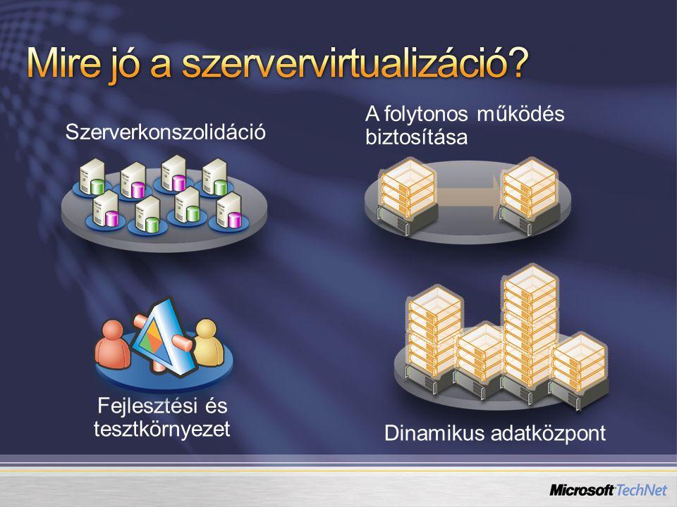 Fejlesztési és tesztkörnyezet A folytonos működés biztosítása Dinamikus adatközpont Szerverkonszolidáció