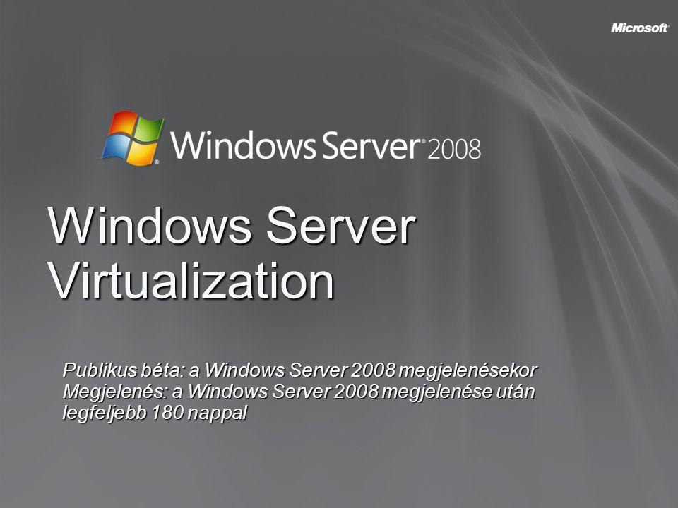 Windows Server Virtualization Publikus béta: a Windows Server 2008 megjelenésekor Megjelenés: a Windows Server 2008 megjelenése után legfeljebb 180 na