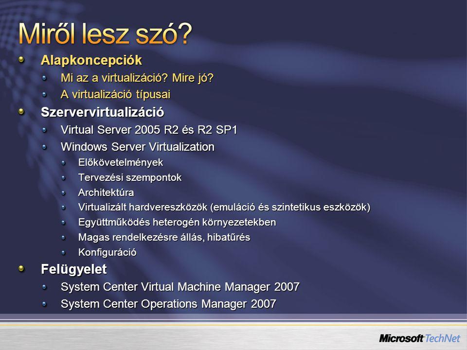 Kihez tartozik: Microsoft ISV OEM Virtual Server Designed for Windows Server Hardware Windows Server 2003 vagy XP KernelVMM.sys Ring 0 Ring 3 Host OS Virtual Server szolgáltatás Ring 0 Ring 1 Ring 3 Guest OS VMM.sys Windows (NT4, 2000, 2003) Futtatott alkalmazások VS Additions IIS Virtual Server Webalkalmazás