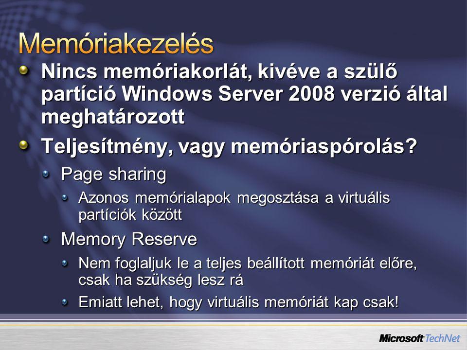 Nincs memóriakorlát, kivéve a szülő partíció Windows Server 2008 verzió által meghatározott Teljesítmény, vagy memóriaspórolás? Page sharing Azonos me