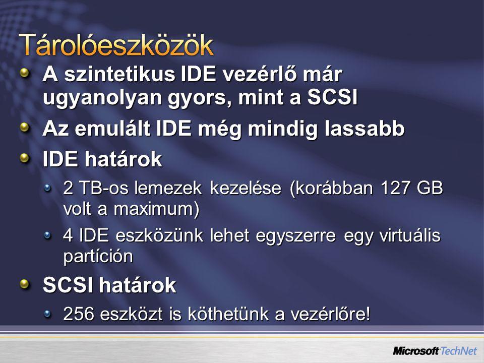 A szintetikus IDE vezérlő már ugyanolyan gyors, mint a SCSI Az emulált IDE még mindig lassabb IDE határok 2 TB-os lemezek kezelése (korábban 127 GB vo