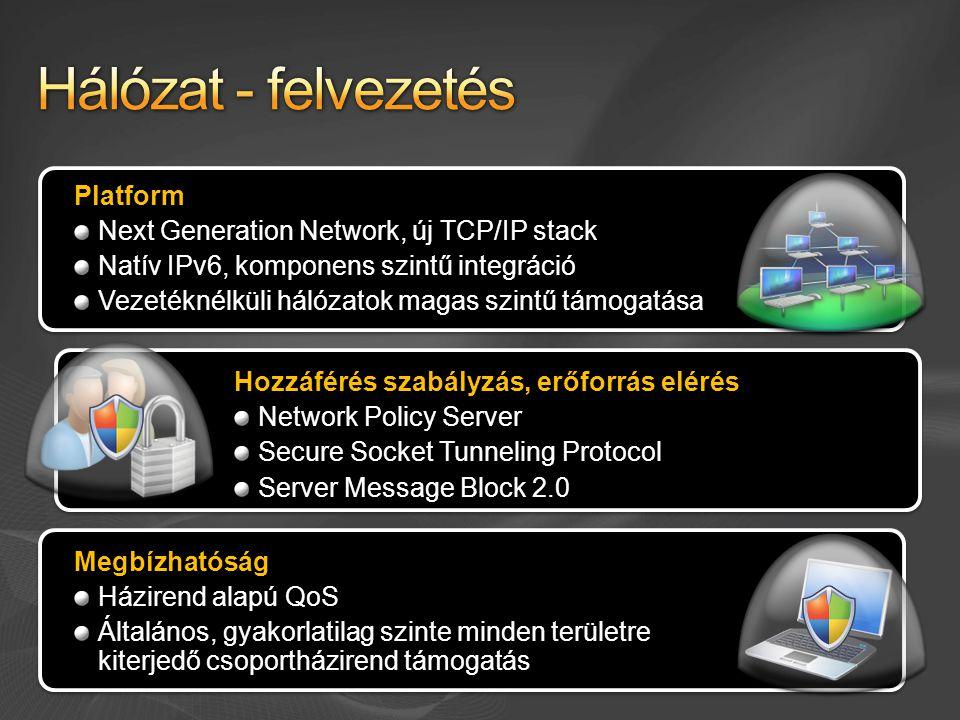 Platform Next Generation Network, új TCP/IP stack Natív IPv6, komponens szintű integráció Vezetéknélküli hálózatok magas szintű támogatása Hozzáférés szabályzás, erőforrás elérés Network Policy Server Secure Socket Tunneling Protocol Server Message Block 2.0 Megbízhatóság Házirend alapú QoS Általános, gyakorlatilag szinte minden területre kiterjedő csoportházirend támogatás