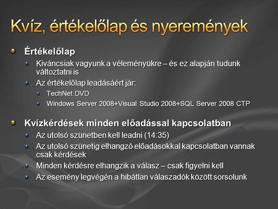 Értékelőlap Kiváncsiak vagyunk a véleményükre – és ez alapján tudunk változtatni is Az értékelőlap leadásáért jár: TechNet DVD Windows Server 2008+Visual Studio 2008+SQL Server 2008 CTP Kvízkérdések minden előadással kapcsolatban Az utolsó szünetben kell leadni (14:35) Az utolsó szünetig elhangzó előadásokkal kapcsolatban vannak csak kérdések Minden kérdésre elhangzik a válasz – csak figyelni kell Az esemény legvégén a hibátlan válaszadók között sorsolunk