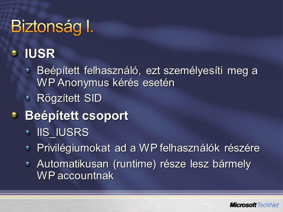 IUSR Beépített felhasználó, ezt személyesíti meg a WP Anonymus kérés esetén Rögzített SID Beépített csoport IIS_IUSRS Privilégiumokat ad a WP felhasználók részére Automatikusan (runtime) része lesz bármely WP accountnak