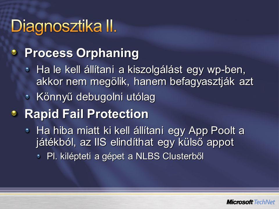 Process Orphaning Ha le kell állítani a kiszolgálást egy wp-ben, akkor nem megölik, hanem befagyasztják azt Könnyű debugolni utólag Rapid Fail Protection Ha hiba miatt ki kell állítani egy App Poolt a játékból, az IIS elindíthat egy külső appot Pl.