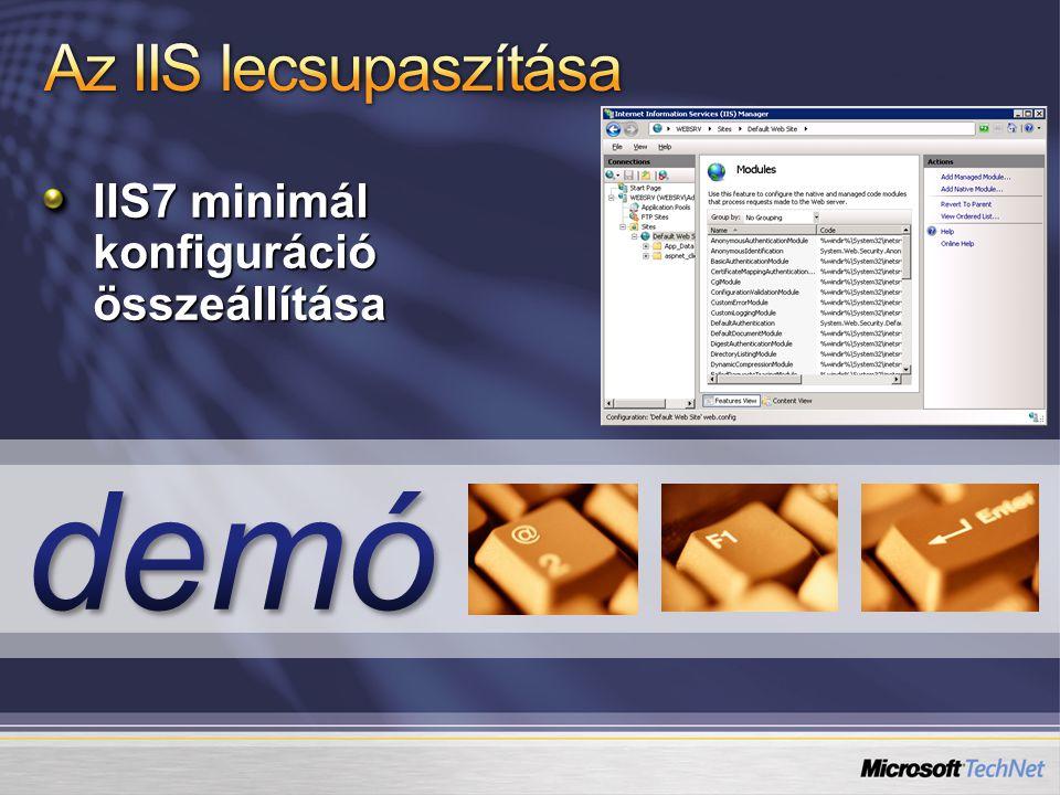 Saját GUI beépítése az IIS menedzsment konzolba Saját modulok konfigurációs GUI-ja beépíthető a gyáriak mellé Az FTP szerver adminisztrációs felülete is így készült