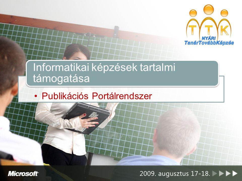 Publikációs Portálrendszer Informatikai képzések tartalmi támogatása