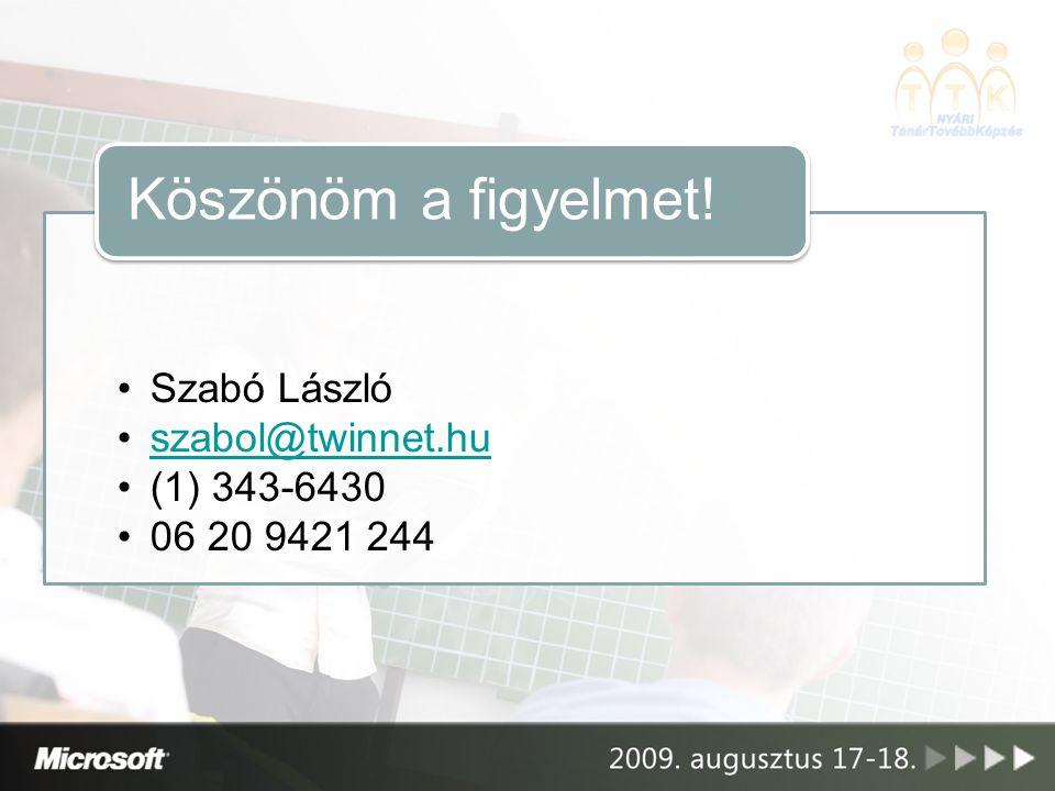 Szabó László szabol@twinnet.hu (1) 343-6430 06 20 9421 244 Köszönöm a figyelmet!