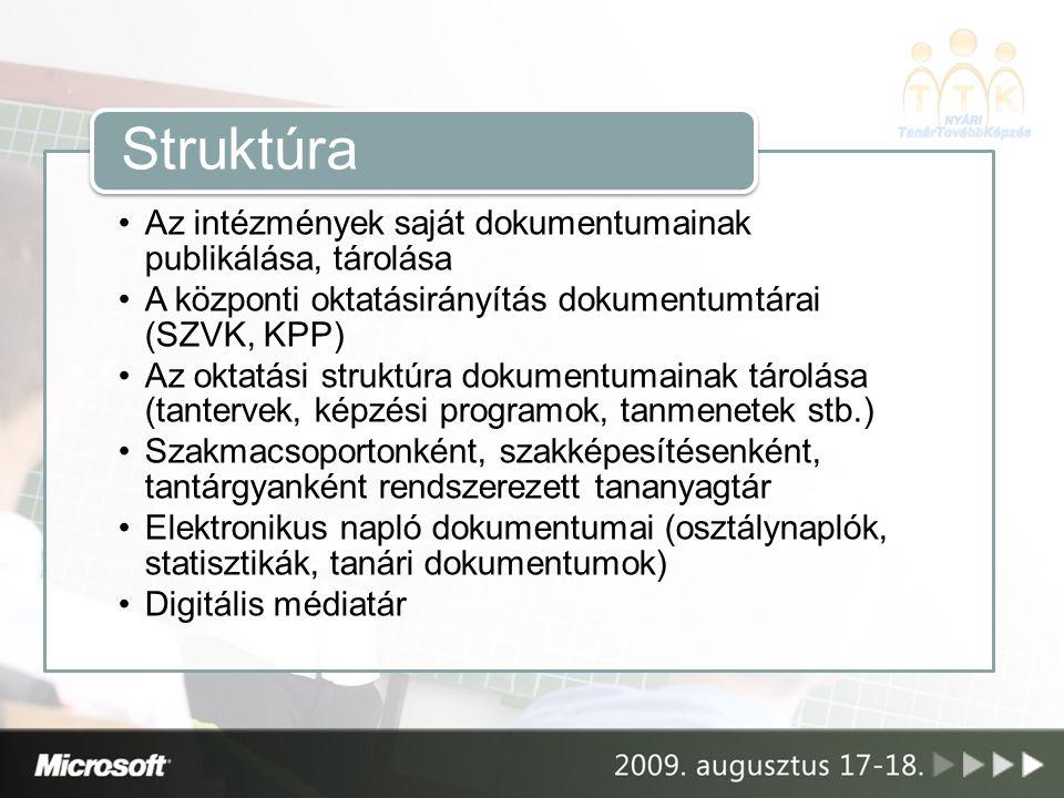 Az intézmények saját dokumentumainak publikálása, tárolása A központi oktatásirányítás dokumentumtárai (SZVK, KPP) Az oktatási struktúra dokumentumainak tárolása (tantervek, képzési programok, tanmenetek stb.) Szakmacsoportonként, szakképesítésenként, tantárgyanként rendszerezett tananyagtár Elektronikus napló dokumentumai (osztálynaplók, statisztikák, tanári dokumentumok) Digitális médiatár Struktúra