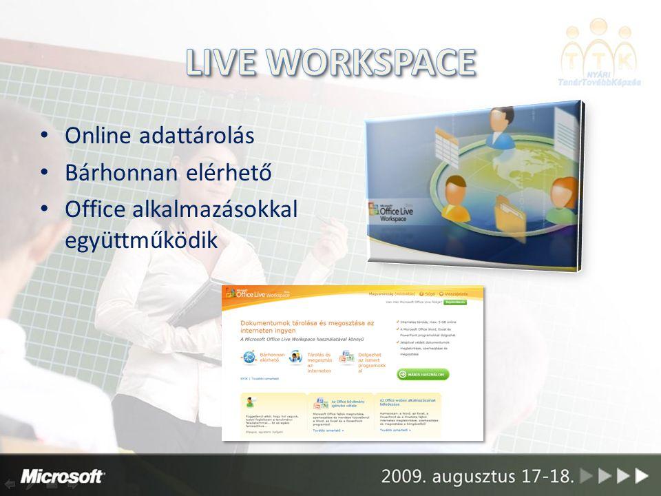 Online adattárolás Bárhonnan elérhető Office alkalmazásokkal együttműködik