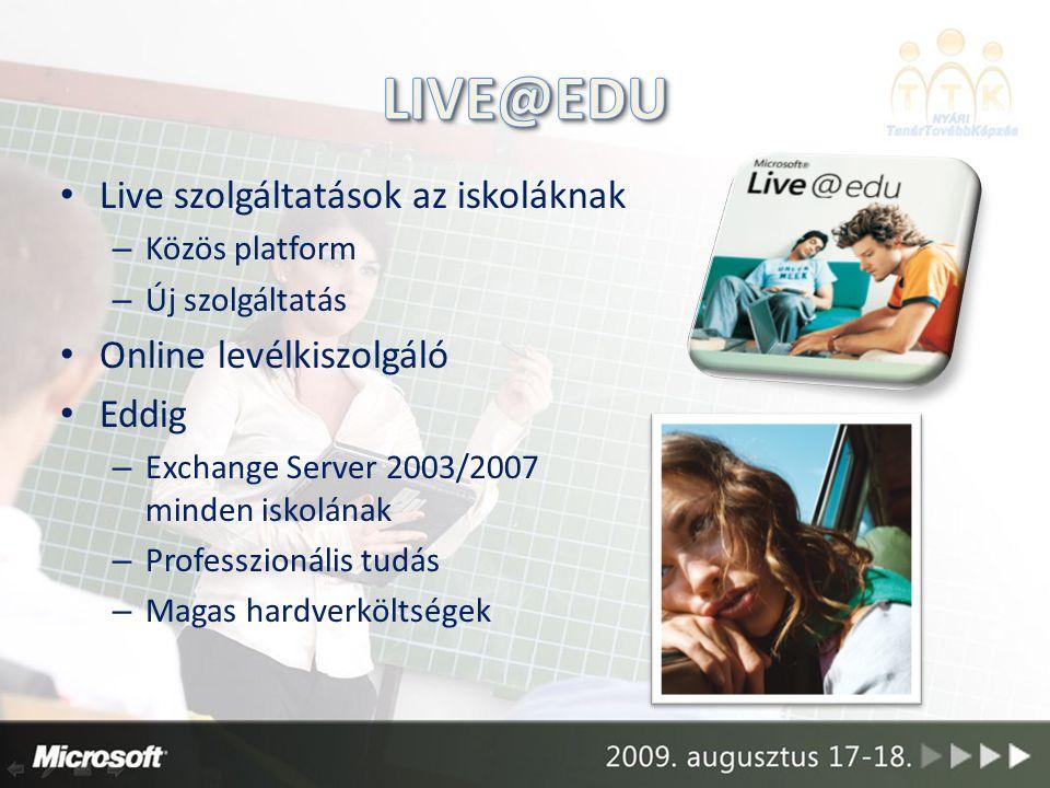 Live szolgáltatások az iskoláknak – Közös platform – Új szolgáltatás Online levélkiszolgáló Eddig – Exchange Server 2003/2007 minden iskolának – Professzionális tudás – Magas hardverköltségek