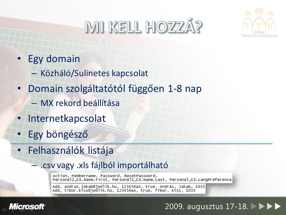 Egy domain – Közháló/Sulinetes kapcsolat Domain szolgáltatótól függően 1-8 nap – MX rekord beállítása Internetkapcsolat Egy böngésző Felhasználók listája –.csv vagy.xls fájlból importálható