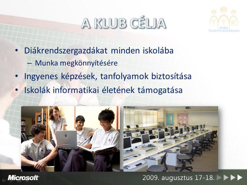 Diákrendszergazdákat minden iskolába – Munka megkönnyítésére Ingyenes képzések, tanfolyamok biztosítása Iskolák informatikai életének támogatása