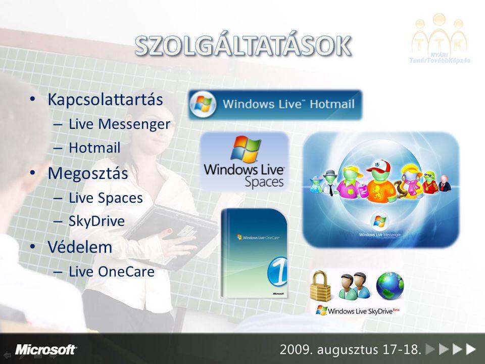 Kapcsolattartás – Live Messenger – Hotmail Megosztás – Live Spaces – SkyDrive Védelem – Live OneCare
