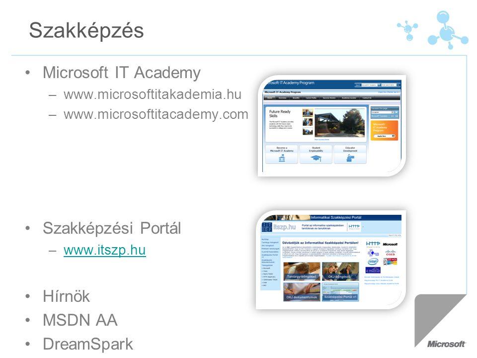 Szakképzés Microsoft IT Academy –www.microsoftitakademia.hu –www.microsoftitacademy.com Szakképzési Portál –www.itszp.huwww.itszp.hu Hírnök MSDN AA DreamSpark