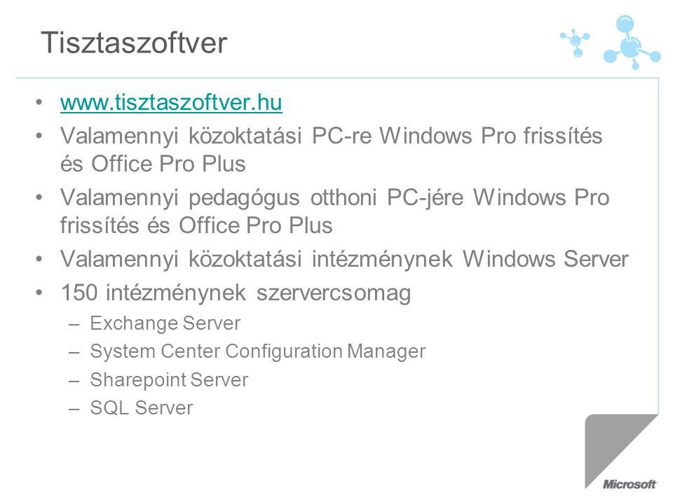 Tisztaszoftver www.tisztaszoftver.hu Valamennyi közoktatási PC-re Windows Pro frissítés és Office Pro Plus Valamennyi pedagógus otthoni PC-jére Windows Pro frissítés és Office Pro Plus Valamennyi közoktatási intézménynek Windows Server 150 intézménynek szervercsomag –Exchange Server –System Center Configuration Manager –Sharepoint Server –SQL Server