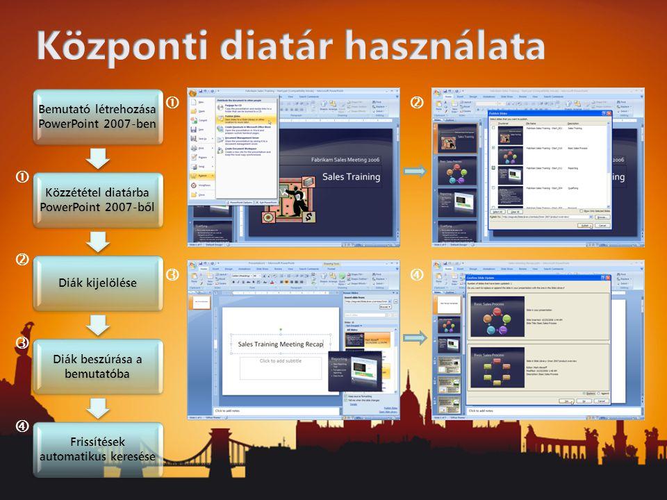 Bemutató létrehozása PowerPoint 2007-ben Közzététel diatárba PowerPoint 2007-ből Diák kijelölése Diák beszúrása a bemutatóba Frissítések automatikus keresése       