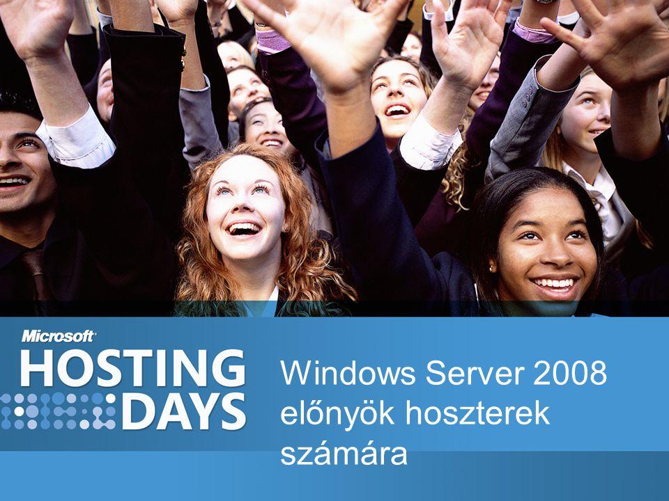 Windows Server 2008 Web Edition Alacsonyabb költségek, nagyobb kapacitás 4 processzor 4 GB Ram (x32), 32GB (x64) Microsoft ® SQL Server™ megengedett helyi Web alkalazásokhoz Windows SharePoint Szervermag opcionális telepítés