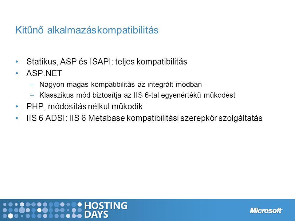 Kitűnő alkalmazáskompatibilitás Statikus, ASP és ISAPI: teljes kompatibilitás ASP.NET –Nagyon magas kompatibilitás az integrált módban –Klasszikus mód biztosítja az IIS 6-tal egyenértékű működést PHP, módosítás nélkül működik IIS 6 ADSI: IIS 6 Metabase kompatibilitási szerepkör szolgáltatás