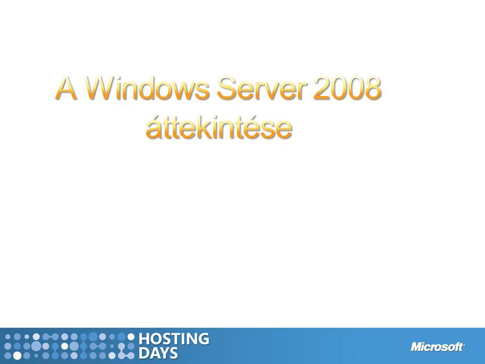 BiztonságWebVirtualizáció Szilárd alap a hosztolt üzleti alkalmazásokhoz Alacsonyabb költségek, jobban kihasznált hardver, optimális infrastruktúra Hyper–V (WSv) TS (Remote App, G/W) Gazdag webes felhasználói élmény - hatékonyan IIS 7 WSS 3.0 Soha nem tapasztalt védelem RODC RMS BitLocker Az eddigi legrugalmasabb és legrobosztusabb Windows Server Server Core, PowerShell, WDS, fürtözés, Server Manager