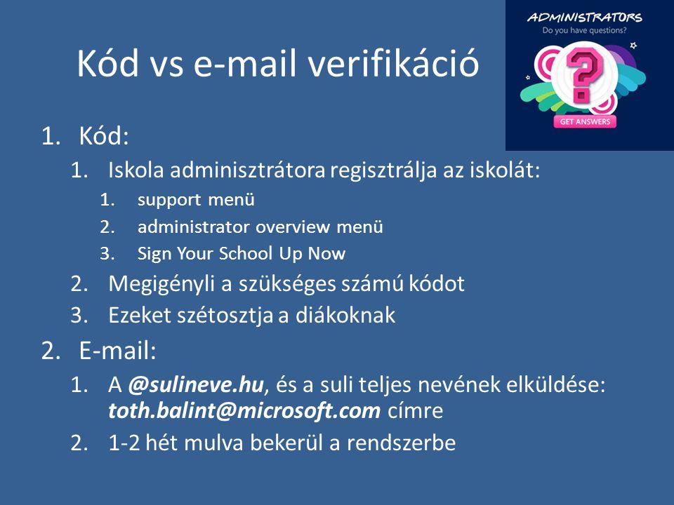 Kód vs e-mail verifikáció 1.Kód: 1.Iskola adminisztrátora regisztrálja az iskolát: 1.support menü 2.administrator overview menü 3.Sign Your School Up Now 2.Megigényli a szükséges számú kódot 3.Ezeket szétosztja a diákoknak 2.E-mail: 1.A @sulineve.hu, és a suli teljes nevének elküldése: toth.balint@microsoft.com címre 2.1-2 hét mulva bekerül a rendszerbe