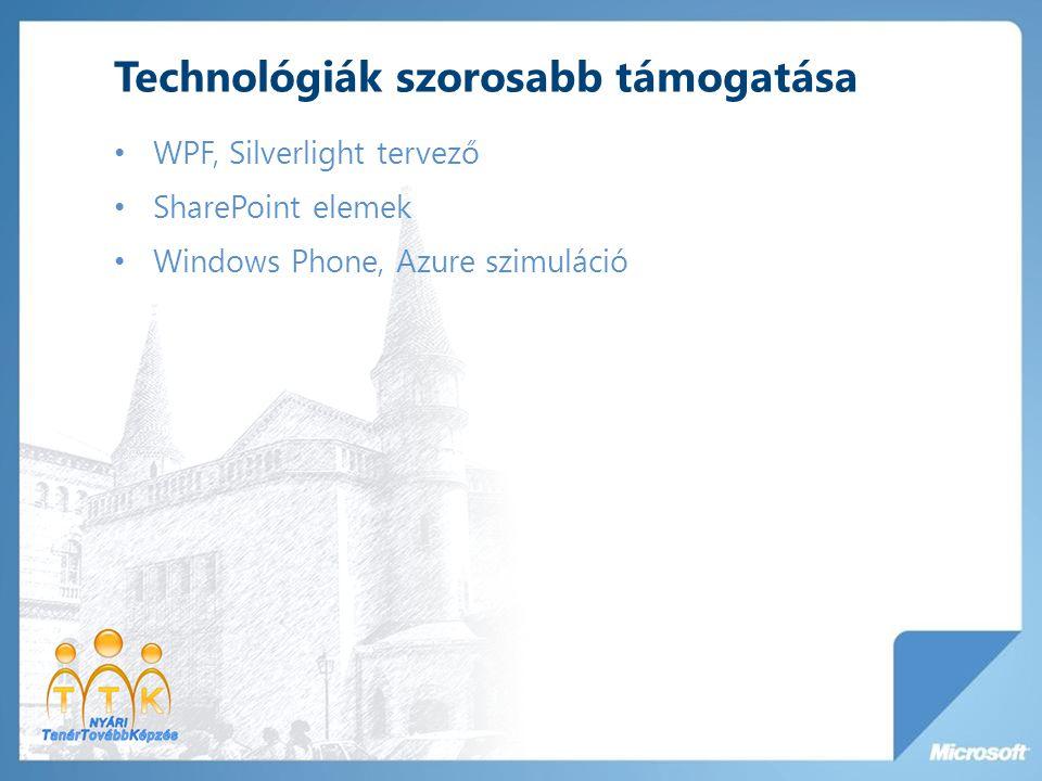 Technológiák szorosabb támogatása WPF, Silverlight tervező SharePoint elemek Windows Phone, Azure szimuláció