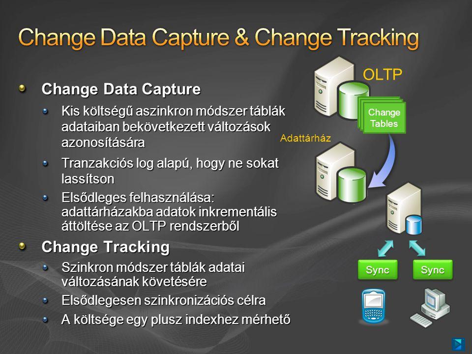 Change Data Capture Kis költségű aszinkron módszer táblák adataiban bekövetkezett változások azonosítására Tranzakciós log alapú, hogy ne sokat lassítson Elsődleges felhasználása: adattárházakba adatok inkrementális áttöltése az OLTP rendszerből Change Tracking Szinkron módszer táblák adatai változásának követésére Elsődlegesen szinkronizációs célra A költsége egy plusz indexhez mérhető Change Tables OLTP Adattárház SyncSyncSyncSync