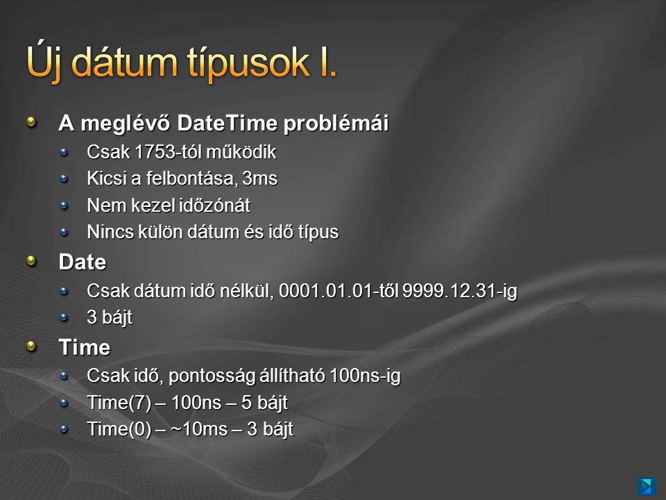 A meglévő DateTime problémái Csak 1753-tól működik Kicsi a felbontása, 3ms Nem kezel időzónát Nincs külön dátum és idő típus Date Csak dátum idő nélkül, 0001.01.01-től 9999.12.31-ig 3 bájt Time Csak idő, pontosság állítható 100ns-ig Time(7) – 100ns – 5 bájt Time(0) – ~10ms – 3 bájt