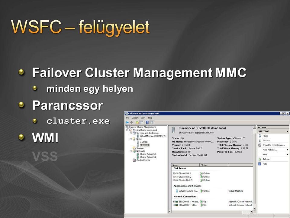 Failover Cluster Management MMC minden egy helyen Parancssorcluster.exeWMI VSS