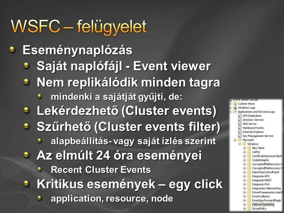 Eseménynaplózás Saját naplófájl - Event viewer Nem replikálódik minden tagra mindenki a sajátját gyűjti, de: Lekérdezhető (Cluster events) Szűrhető (C