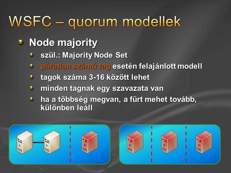Node majority szül.: Majority Node Set páratlan számú tag esetén felajánlott modell tagok száma 3-16 között lehet minden tagnak egy szavazata van ha a