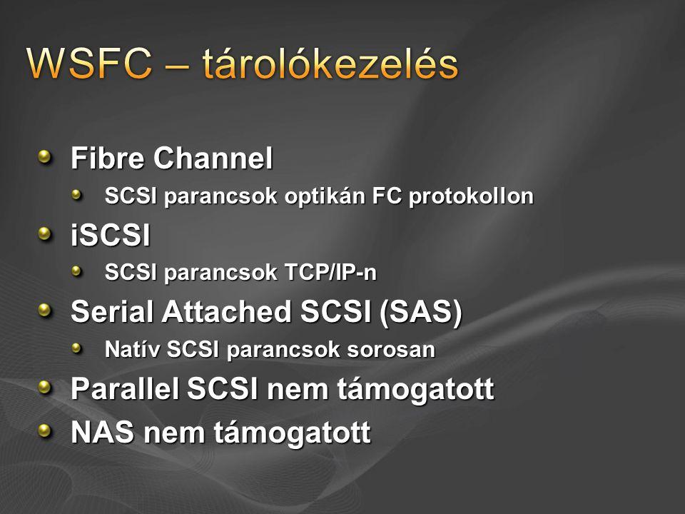 Fibre Channel SCSI parancsok optikán FC protokollon iSCSI SCSI parancsok TCP/IP-n Serial Attached SCSI (SAS) Natív SCSI parancsok sorosan Parallel SCS