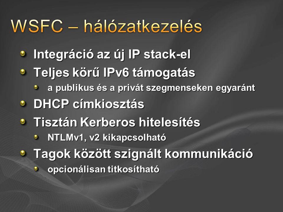 Integráció az új IP stack-el Teljes körű IPv6 támogatás a publikus és a privát szegmenseken egyaránt DHCP címkiosztás Tisztán Kerberos hitelesítés NTL