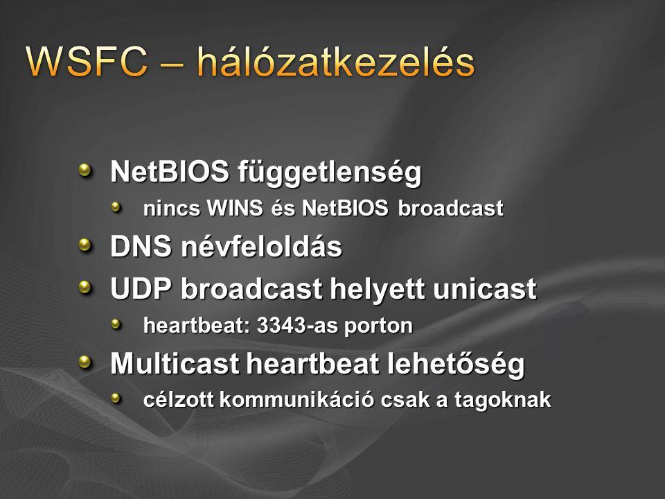 NetBIOS függetlenség nincs WINS és NetBIOS broadcast DNS névfeloldás UDP broadcast helyett unicast heartbeat: 3343-as porton Multicast heartbeat lehet