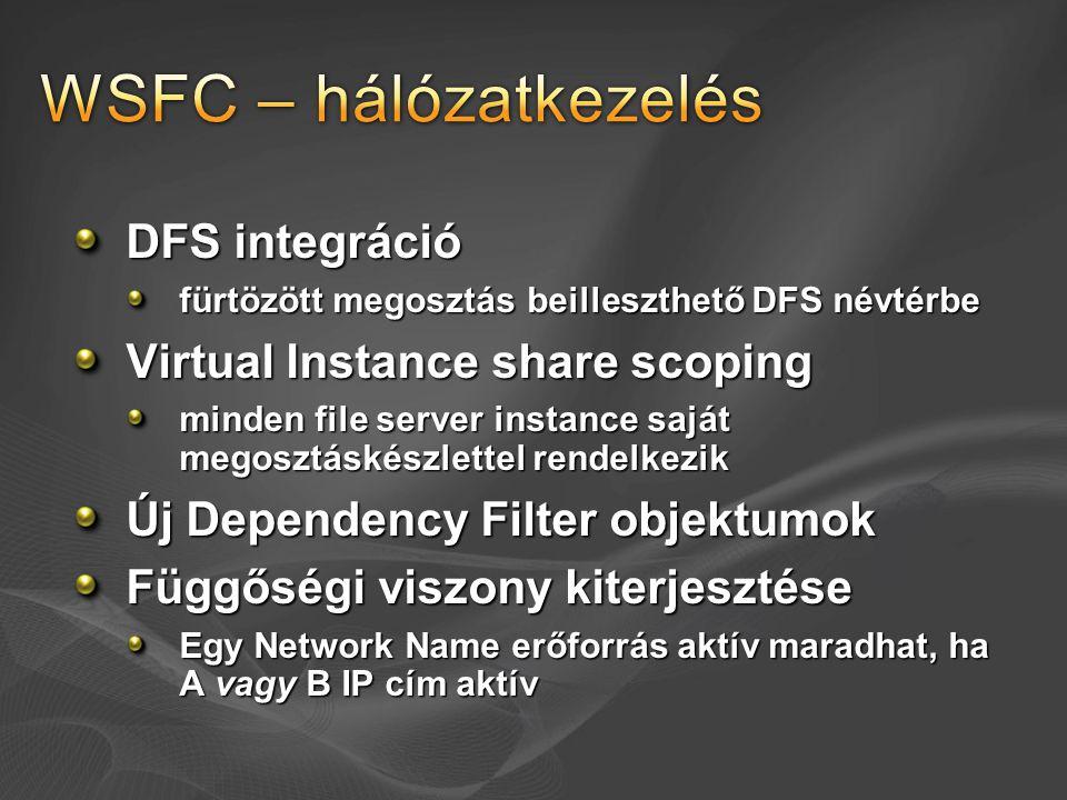 DFS integráció fürtözött megosztás beilleszthető DFS névtérbe Virtual Instance share scoping minden file server instance saját megosztáskészlettel ren