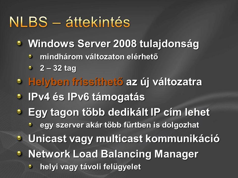 Windows Server 2008 tulajdonság mindhárom változaton elérhető 2 – 32 tag Helyben frissíthető az új változatra IPv4 és IPv6 támogatás Egy tagon több de