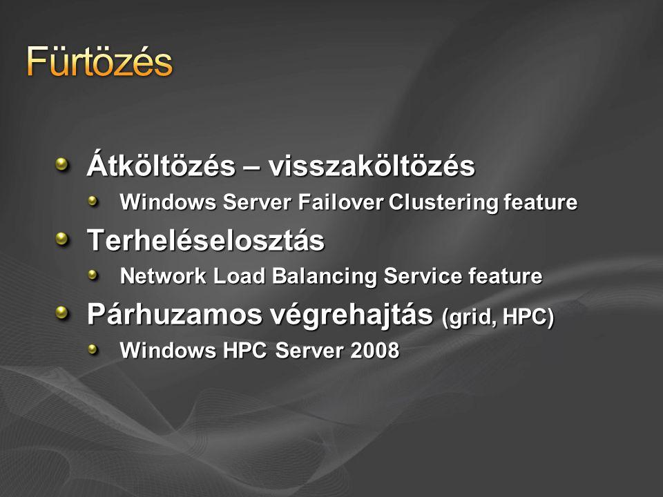 Magas rendelkezésre állás és hibatűrés Több fizikai gép egy logikai pont mögött Kliensek számára transzparens a háttér Alkalmazások, szolgál- tatások fenntartására Adott erőforrást egyszerre csak egy tag kezel TCP, UDP hozzáférés biztosítására Az összes tag részt vállal Egyenlően vagy súlyozva WSFCNLB