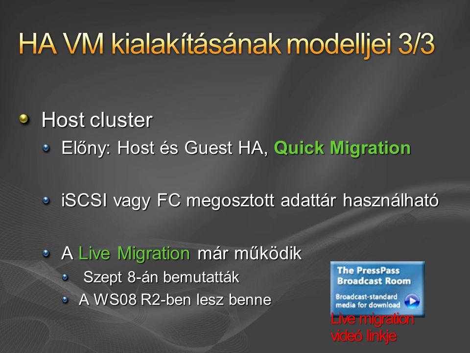 Host cluster Előny: Host és Guest HA, Quick Migration iSCSI vagy FC megosztott adattár használható A Live Migration már működik Szept 8-án bemutatták