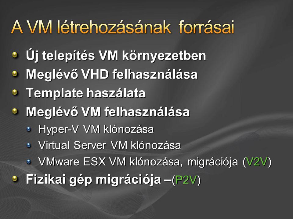Új telepítés VM környezetben Meglévő VHD felhasználása Template haszálata Meglévő VM felhasználása Hyper-V VM klónozása Virtual Server VM klónozása VM