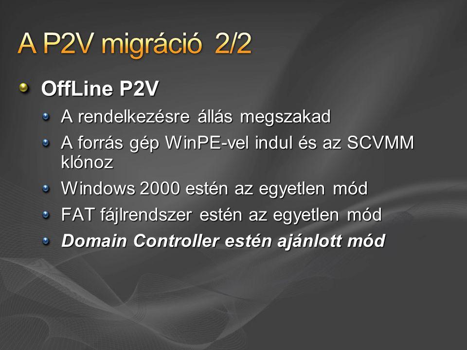 OffLine P2V A rendelkezésre állás megszakad A forrás gép WinPE-vel indul és az SCVMM klónoz Windows 2000 estén az egyetlen mód FAT fájlrendszer estén