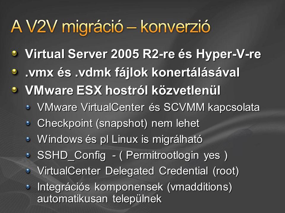 Virtual Server 2005 R2-re és Hyper-V-re.vmx és.vdmk fájlok konertálásával VMware ESX hostról közvetlenül VMware VirtualCenter és SCVMM kapcsolata Chec