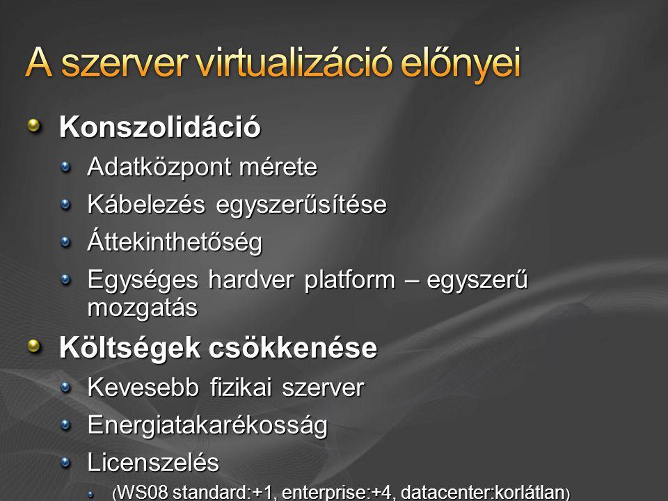 Virtual PC tesztkörnyezet host-tal inkompatibilis applikációk futtatása MS Virtual Server 2005 R2 MS Windows Server 2008 Hyper-V MS Hyper-V Server Egyéb gyártók: WMware (VirtualCenter - SCVMM integrált felügyelet!)