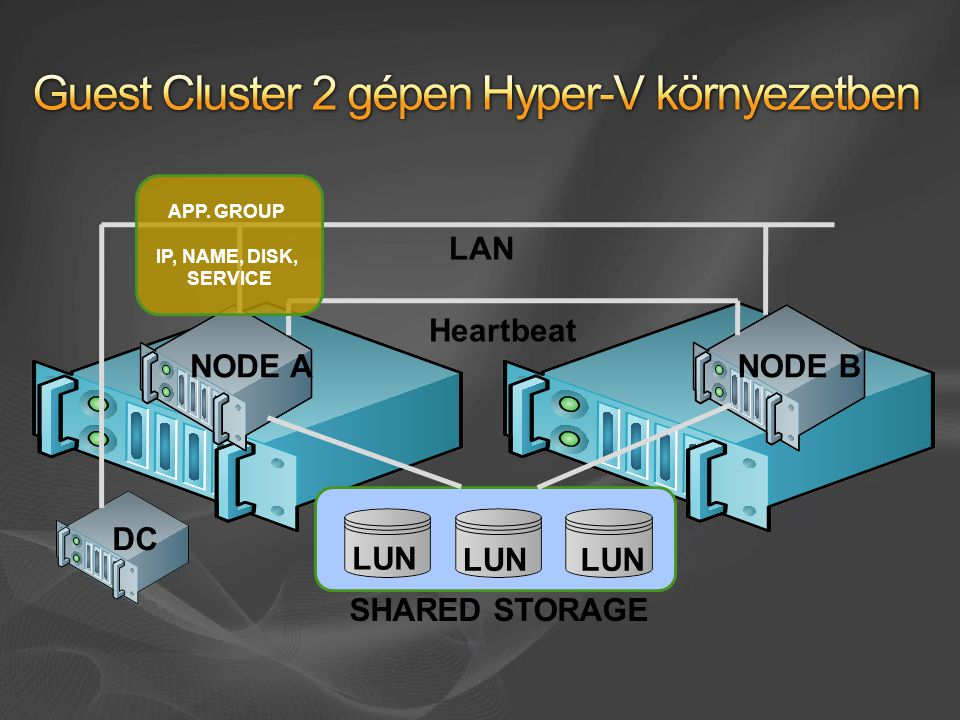 SHARED STORAGE LAN Heartbeat NODE BNODE A LUN DC APP. GROUP IP, NAME, DISK, SERVICE
