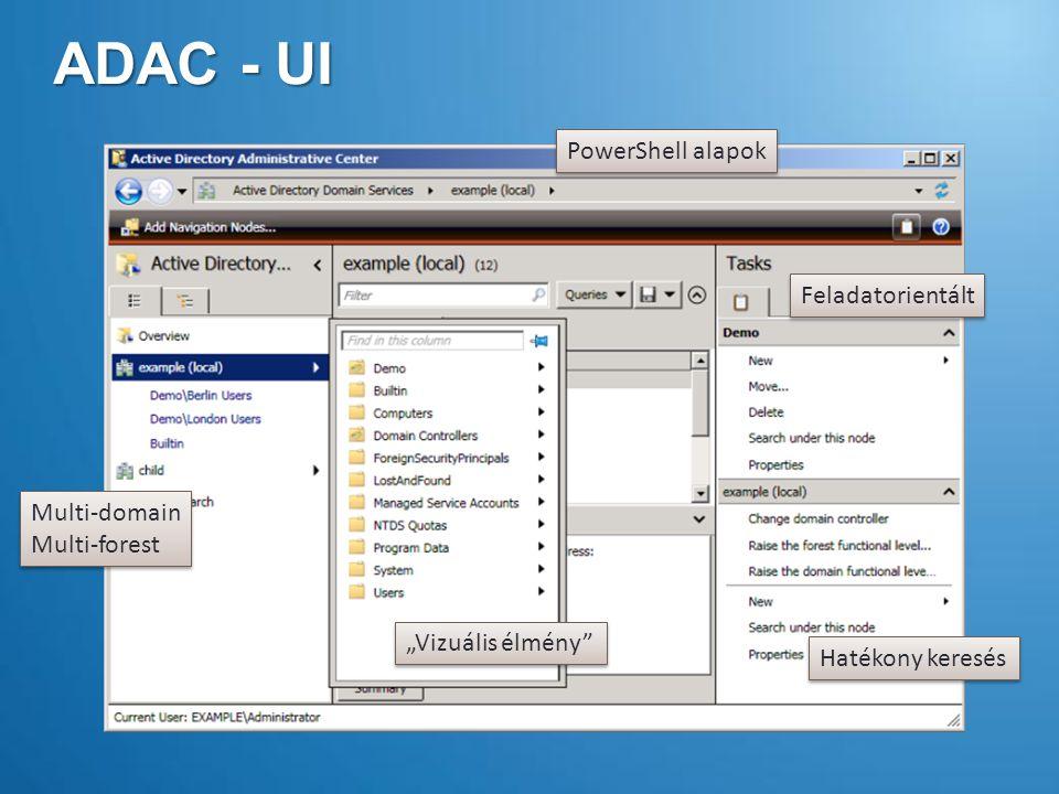 """ADAC - UI Feladatorientált """"Vizuális élmény Hatékony keresés Multi-domain Multi-forest Multi-domain Multi-forest PowerShell alapok"""