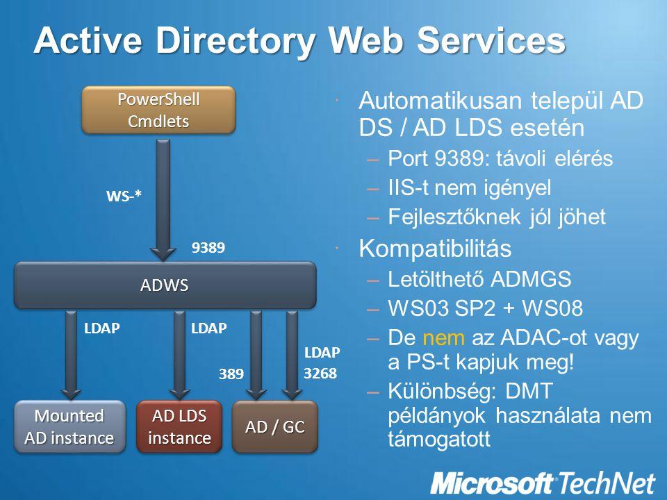Active Directory Web Services  Automatikusan települ AD DS / AD LDS esetén –Port 9389: távoli elérés –IIS-t nem igényel –Fejlesztőknek jól jöhet  Kompatibilitás –Letölthető ADMGS –WS03 SP2 + WS08 –De nem az ADAC-ot vagy a PS-t kapjuk meg.