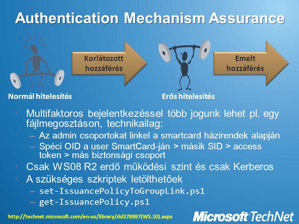 Authentication Mechanism Assurance  Multifaktoros bejelentkezéssel több jogunk lehet pl.