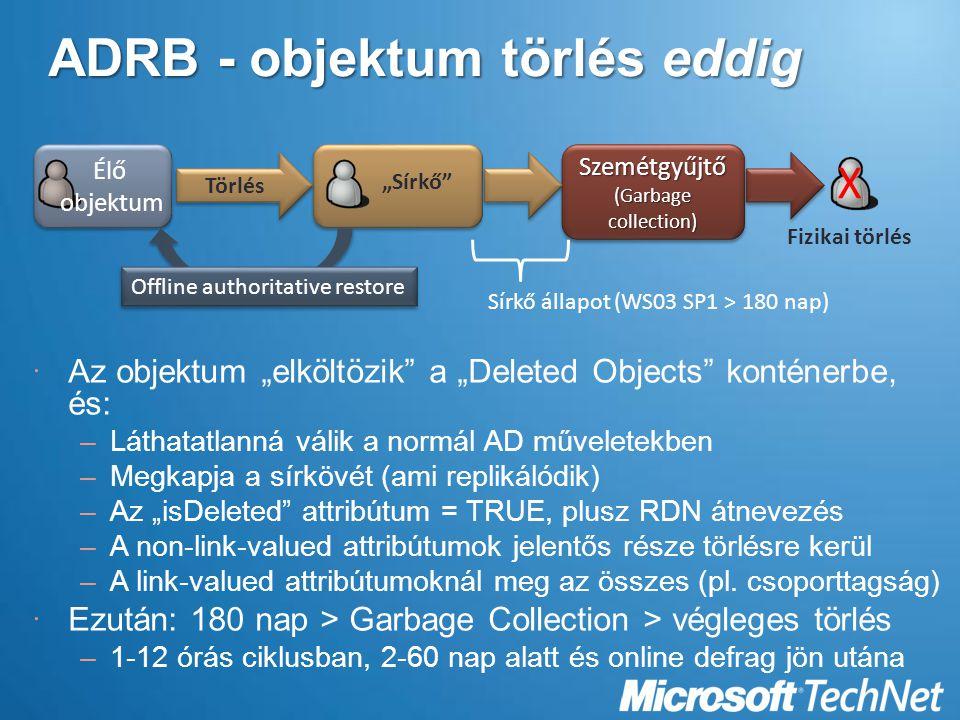"""ADRB - objektum törlés eddig  Az objektum """"elköltözik a """"Deleted Objects konténerbe, és: –Láthatatlanná válik a normál AD műveletekben –Megkapja a sírkövét (ami replikálódik) –Az """"isDeleted attribútum = TRUE, plusz RDN átnevezés –A non-link-valued attribútumok jelentős része törlésre kerül –A link-valued attribútumoknál meg az összes (pl."""
