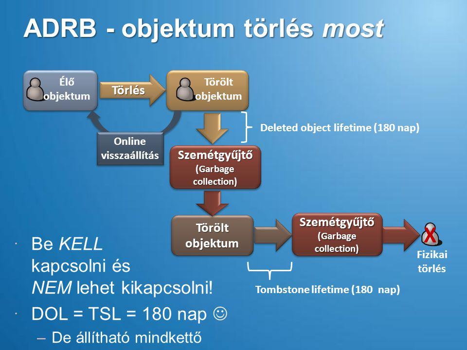 ADRB - objektum törlés most TörlésTörlés Törölt objektum Szemétgyűjtő (Garbage collection) X Fizikai törlés Deleted object lifetime (180 nap) Tombstone lifetime (180 nap) Online visszaállítás Online visszaállítás Szemétgyűjtő (Garbage collection)  Be KELL kapcsolni és NEM lehet kikapcsolni.
