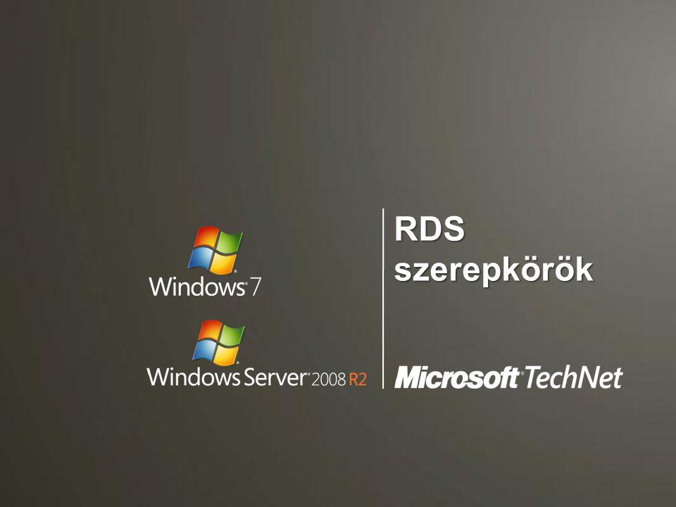 RDC mátrix - kapcsolatok Win7/ R2 Vista SP+ XP SP3 XP SP2 RDC 7.0 RDC 6.1RDC 7.0RDC 6.1 RDC 5.2 Távoli Asztal elérésigen RemoteApp elérésigen nem Saját desktop elérés a Connection Broker-en keresztül igen Közös desktop elérés a Connection Broker-en keresztül igen RemoteApp használat, virtuális asztal elérés és szimpla terminálkapcsolat közvetlenül az OS-ből igennem RemoteApp használat, virtuális asztal elérés és szimpla terminálkapcsolat a Web Access- ből igen nem Státusz (és szétkapcsolás) tálca ikon igen nem