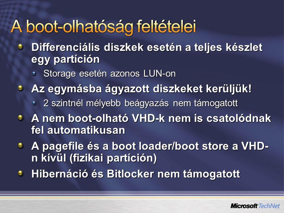 Differenciális diszkek esetén a teljes készlet egy partíción Storage esetén azonos LUN-on Az egymásba ágyazott diszkeket kerüljük! 2 szintnél mélyebb